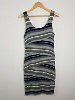 Country Road Striped Layered Asymmetrical Ruffle Bodycon Dress Women's Size M