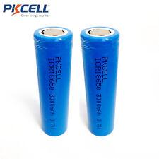 2X 3.7V 3000mAh Flat Top Li-ion 18650 Vape Mod Torch Rechargeable Battery PKCELL