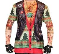 BIKER TATTOO Ugly Christmas Sweater Style T-Shirt Mens Longsleeve
