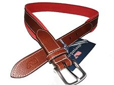 Vineyard Vines Men's Chevron Webbing Canvas Leather Jetty Red Salmon Belt 32* 30