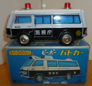 tin plate toy Police Van - Friction Drive - T.P.S. Made in Japan - Boxed