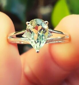 1.6ct Natural Green Amethyst Diamond Solid 9K White Gold Ring Statement Cocktail