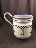 Antique Vintage Enamelware Pitcher Cream with Blue Checkers Art Deco Design