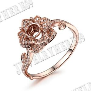 Fine Jewelry Flower Design Solid 10k Rose Gold Real SI/H 3/5CT Diamond Gift Ring