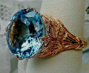 Natural 18ct Blue Topaz Sterling Silver / Rose Gold Filigree Ring (Custom-Made)