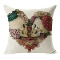 1x Vintage Skull Cotton Linen Pillow Case Sofa Throw Cushion Cover Home Decor@