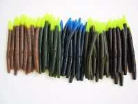 """50 pk 5"""" Senko style Soft Plastic Bass Worms-5 Colors/10 Each-FIRE TIP PACK-USA"""