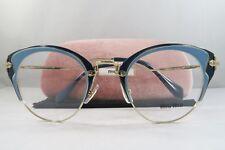 Miu Miu VMU 52P U66-1O1 Shiny Blue on Gold New Authentic Eyeglasses 48mm w/ Case