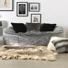 Luxury XL Soft Faux Fur Bean Bag 2 People Love Seat Sofa Relax Chair Arctic Wolf
