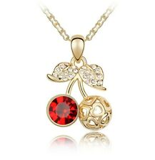 18K Yellow Gold Plated Made with Swarovski Elements Red Cherry Fruit Necklace