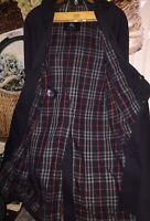 Burberry London Overcoat Long Woman's 6 Pt Blue/Navy Plad Single Button England~