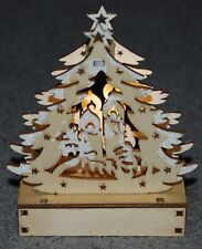 Wooden Christmas Scene Decoration, LED Light Up Christmas Tree & Candles