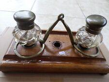 Ancien Encrier-porte plume-mors cheval-bois/bronze/verre moulé-anglais-INKWELL