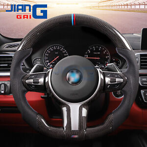 Flat  bottom carbon fiber perforate leather steering wheel For bmw m2 m3 m4