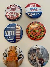 """6 Tiger King pinback buttons Joe Exotic Lion cat 2.25"""" Campaign Oklahoma"""