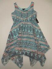 new AS U WISH #DR1517 Women's Size M Paisley Blue Asymmetrical Blue Shift Dress