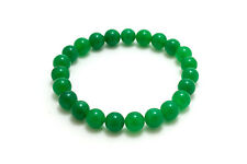 Jade Green 8mm Natural Gemstone Elastic Stretch Bead Amulet Healing Bracelet