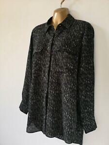 Shirt blouse 14 Black Green Geo light crepe smart Spring cool Long sleeve