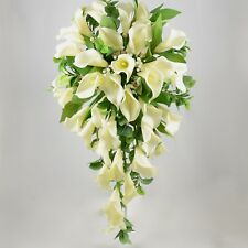 Artificial Wedding Flowers Silk Brides Shower Bouquet in Ivory Cream Calla Lily
