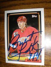 Autographed 1992-93 Topps  #401  Brent Fedyk  Detroit Red Wings NrMt