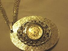Vintage VANTAGE SILVER  WATCH NECKLACE 4 CHAINS WIND UP