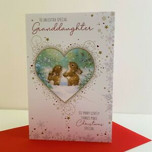 Cherry Orchard Extra Special Granddaughter Christmas Card Bunny Rabbits/XN784