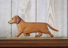 Dachshund Smooth Dog Figurine Sign Plaque Display Wall Decoration Red
