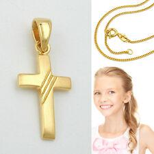 Baby Taufkette Kommunion Kinder Kreuz Anhänger Echt Silber vergoldet mit Kette