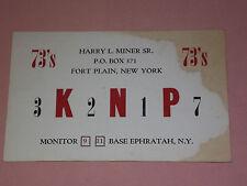 CITIZENS BAND CB RADIO HANDLE ID CARD HARRY MINER SR FORT PLAIN NY VINTAGE