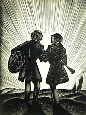 Lynd Ward 1930 MAN w DRUM & ONE w FLUTE WALKING to SUNSET Art Deco Print Matted
