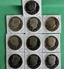 1980 - 1989 PROOF Kennedy Half Coin Collection 10 Coins Fifty Cents 50c