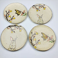 Easter Bunny Rabbit Spring Butterfly Blossoms Reactive Dinner Plates Set of 4
