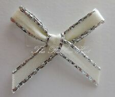 7mm Hand Tied Silver Edge Satin Ribbon Bows, Packets of 10, 25, 50, 100