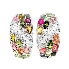 925 Sterling Silber Ohrringe, Weisgold beschichtet, Mehrfarbige Turmaline, Neu