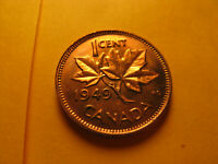 Canada 1949 A Off Denticles Variety Gem BU Small Cent Penny IDJ318.