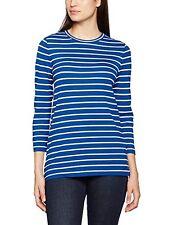 Womens Gant Breton Stripe Crew Neck Strech T Shirt 3/4 Sleeve Yale Blue Size XS