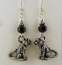 Pewter Tiger Earrings with Hematite gemstones, Auburn, Lsu tigers