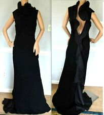 New Ralph Lauren Black Label Venezia Ruffle Long Dress Evening Gown IT 44 / US 8