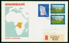 UNITED NATIONS FIRST FLIGHT 1970 COVER GENEVE SWISSAIR TO KINSHASA