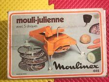 Vintage Mouli-Julienne 445 Orange Made France 5 Disc Shredder Grater Slicer Mint