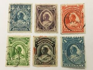 old stamps  NIGER COAST     x  6