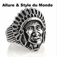 Grosse Bague Homme,Femme,Tête Indien,Argent,Design Antique,Rock,Punk,HipHop,Mode