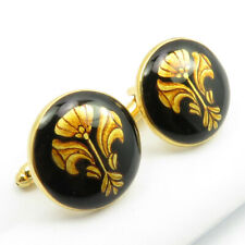Free Express Shipping 925 Solid Silver Gold Plated Hand Painted Motif Cufflinks