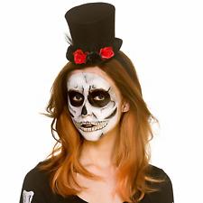 Adult Ladies Black Halloween Mini Fancy Dress Flower Top Hat Costume Accessory