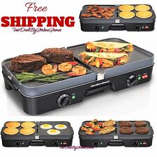 Reversible Grill Griddle Pan Hamburger Steak Large Combo Electric Nonstick Fry