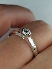 0.26 TCW Bezel Set Diamond Engagement Ring 14K White Gold, Size 6.5