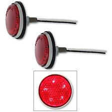 51-52 & 56 Chevy Red 5 LED Auxiliary Tail Light Lamp Reflector Lens Bulb Pair