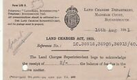 H.M. Land Registery 1941 Land Charges Act Fee Due Metermail Stamp Card Ref 39035
