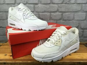 NIKE AIR MAX 90 WHITE LEATHER MESH TRAINERS CHILDRENS LADIES RRP £55 MANY SIZES