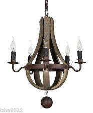 "New  Mini ( 20"") rustic wood and iron wine barrel chandelier"